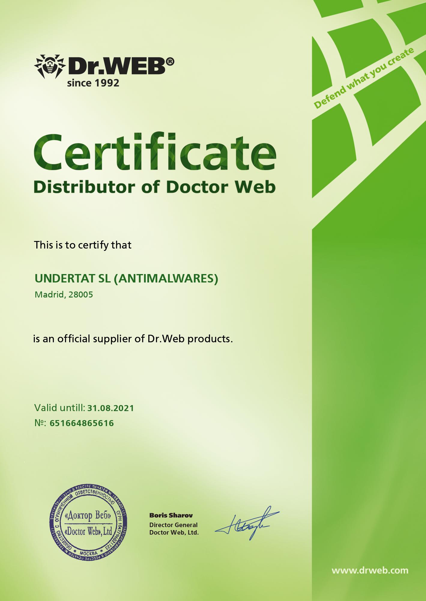 Distribuidor oficial autorizado de Dr Web
