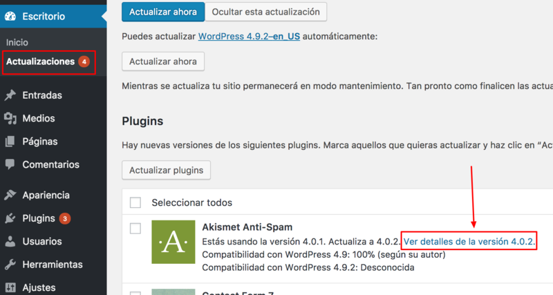Actualizar WordPress para securizarlo