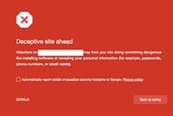 Avisos de sitios de phishing