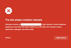 Sitio web comprometido con Chrome